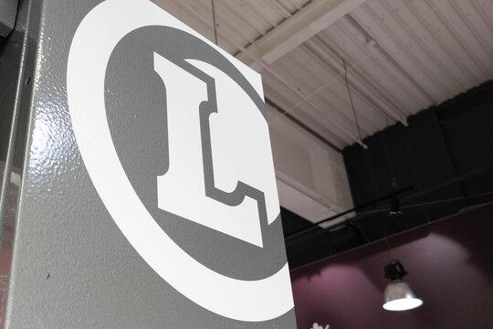 E.Leclerc logo sign brand of French store supermarket leclerc shop