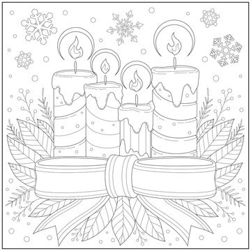 Beautiful candles in the snow with snowflake and beautiful ribbon. Learning and education coloring page illustration for adults and children. Outline style, black and white drawing.