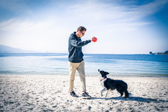 young man playing with his dog on the beach