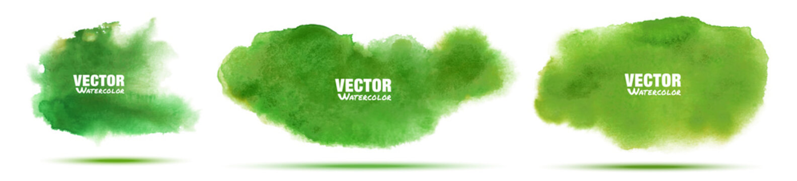 Green abstract hand drawn watercolor background set. Watercolor color splashing on the paper. Vector illustration.