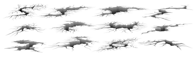 Obraz Earth cracks. Realistic earthquake ground damage. 3D holes and fissures in concrete, destructed fractured wall. Broken surface templates set. Deep splits and crevices, vector ruins - fototapety do salonu