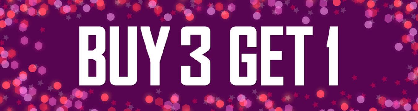 Buy 3 Get 1 Free. Sale web banner design template, discount horizontal poster, vector illustration