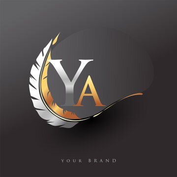 Initial letter YA logo with Feather Gold And Silver Color, Simple and Clean Design For Company Name. Vector Logo for Business and Company.
