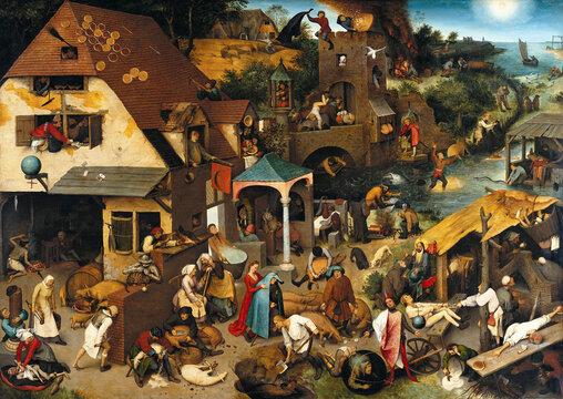 Pieter Bruegel the Elder, Netherlandish Proverbs, 1559, oil on wood panel,  Berlin State Museums, Germany,