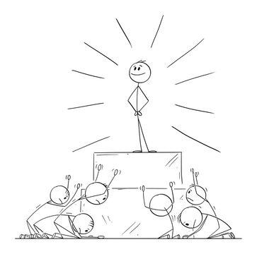 Group of People Worship or Invoke Leader or Individual as God.Vector Cartoon Stick Figure Illustration