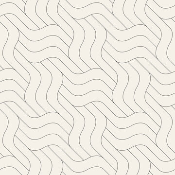 Seamless pattern with geometric waves. Endless stylish texture. Ripple bold monochrome background. Linear weaved grid. Thin interlaced swatch.