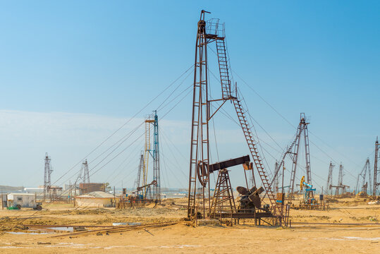 Pumping unit as the oil pump installed on a well. Equipment of oil fields Azerbaijan