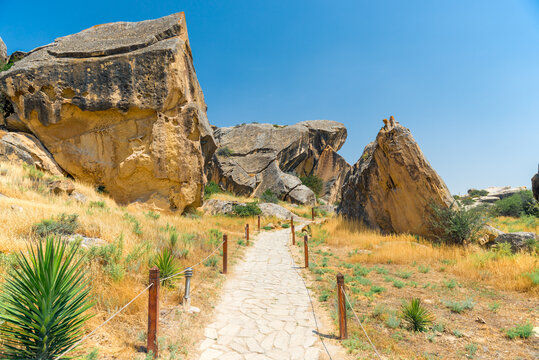 park reserve Gobustan in Azerbaijan with ancient rock petroglyphs
