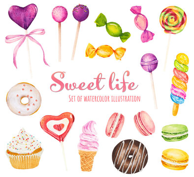 Set of watercolor sweets - ice cream, candy, donut, cupcake, lollipop and macaroons isolated on white background.