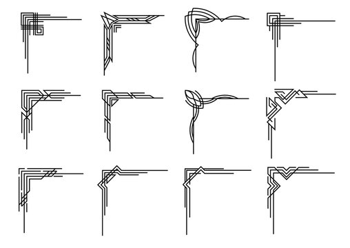 Art deco corners collection. Artwork graphic pattern. Orante wedding invintation element. Vintage border elements. Vector geometric borders set