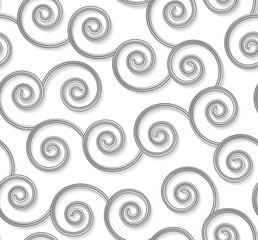 Modèle sans couture bouclé, lignes ondulées argentées 3d sur blanc. Illustration vectorielle. Fond élégant de boucle de métal gris. Toile de fond de texture de forme de tourbillon de mode.