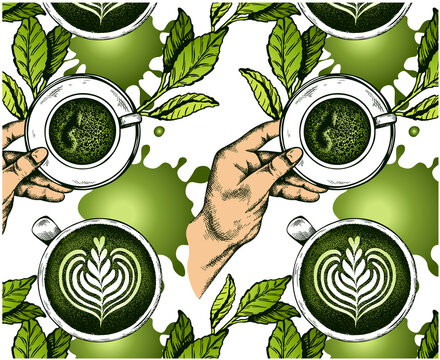 Sketch hand drawn pattern of green tea leaves with cup of japanese matcha, hand holding a mug and tea splash isolated on white background. Asian drink wallpaper. Latte art print. Vector illustration.
