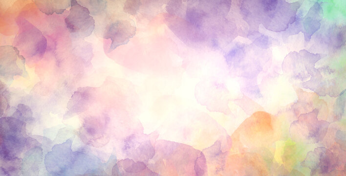 colorful watercolor background with abstract sky border design, painted pastel pink purple yellow orange blue and green blotches and blobs in abstract cloudscape sunset illustration