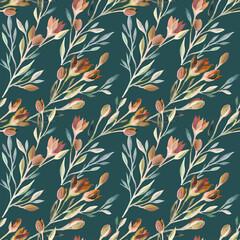 Fleurs de printemps vintage sur un fond vert foncé dessiné à la main. Motif floral sans couture.