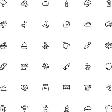 icon vector icon set such as: tool, classic, root, fortune, party, duck, happy, measure, glassware, symbolic, shop, chef, flavor, bbq, parmesan, lemon juice, shape, lottery, shell, cupcake, china