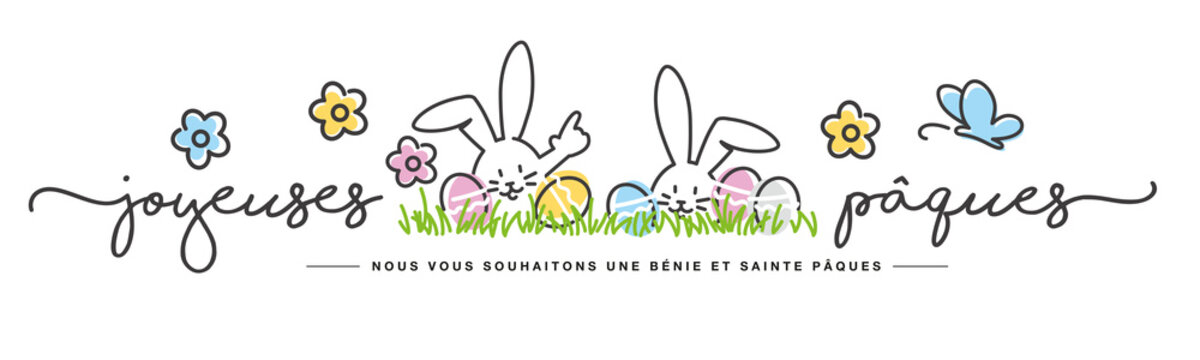 Happy Easter we wish you a holy and blessed Easter on French language handwritten art line design of cute smiling Easter bunny and eggs in grass on white background great for cards, banner, textiles