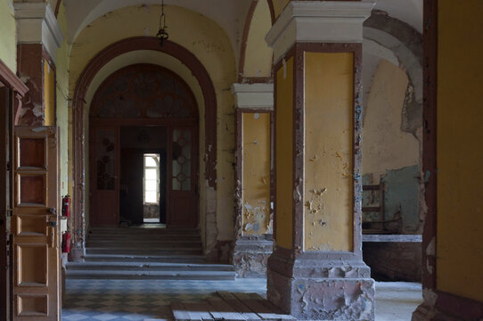 The abandoned old palace in Pilica in Poland
