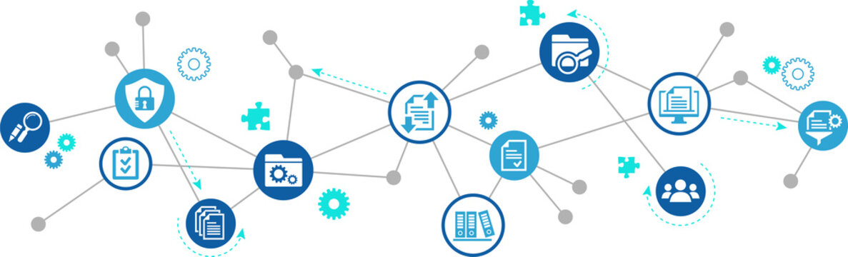 Document management vector illustration. Blue concept with no people related to digital file storage system / software, corporate records keeping, database technology, remote file access, doc sharing.