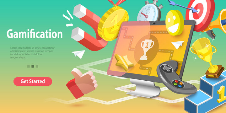 3DVector Conceptual Illustration of Gamification, Interactive Content.