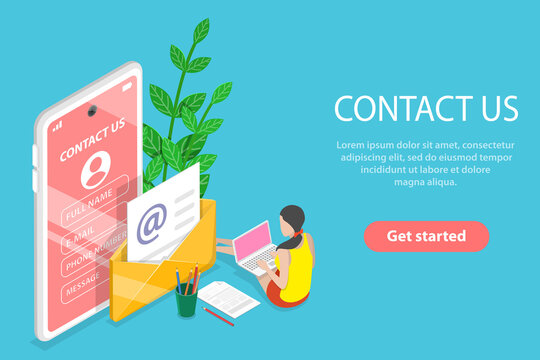 3D Isometric Flat Vector Conceptual Illustration of Contact Us.