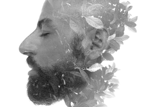 A philosophical portrait of a dreaming man