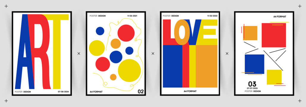 """Typographic poster set with words """"Art"""" and """"Love"""" and retro hipster geometric elements. Blue, Yellow and Red colors. Constructivism and Bauhaus motive."""