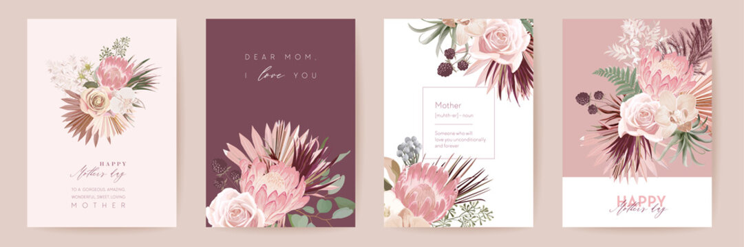 Mothers day floral vector card. Greeting protea flowers, palm leaves template design. Watercolor minimal postcard