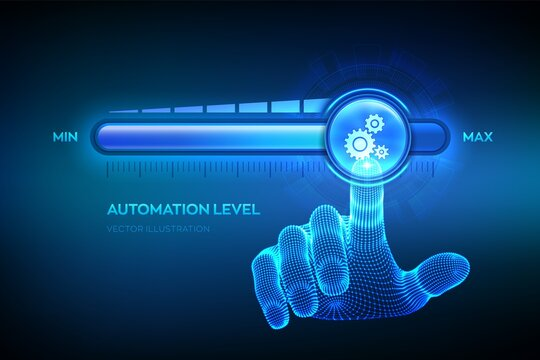 Increasing automation level. RPA Robotic process automation innovation technology concept. Wireframe hand is pulling up to the maximum position progress bar with the gears icon. Vector illustration.