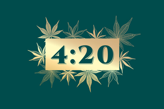 420 Creative Concept with Marijuana or Cannabis Leaves Composition and Numerals Logo Lettering - Gold on Turquoise Background - Hand Drawn Design