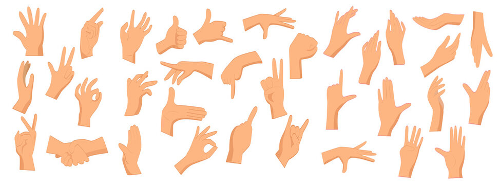 Various gestures of human hands isolated on a white background. Different human finger gesture signs collection. Vector illustration