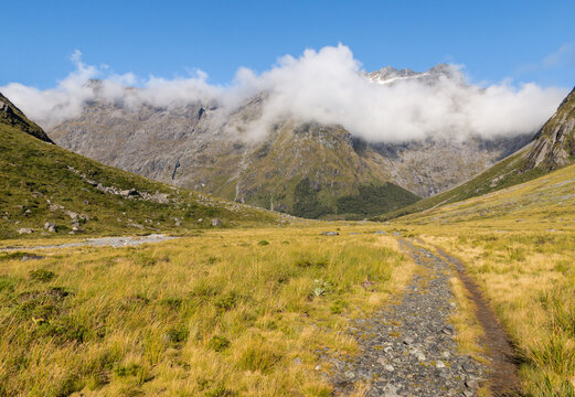 hiking track in Gertrude Valley with Southern Alps mountain range in distance, Fiordland National Park, South Island, New Zealand
