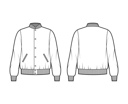 Varsity Bomber jacket technical fashion illustration with Rib baseball collar, cuffs, waistband, buttons fastening, oversized, long sleeves. Flat coat template front, back white color. Women men CAD