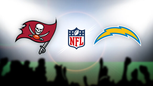 NFL Tampa Bay Buccaneers vs Los Angeles Chargers vector illustration.