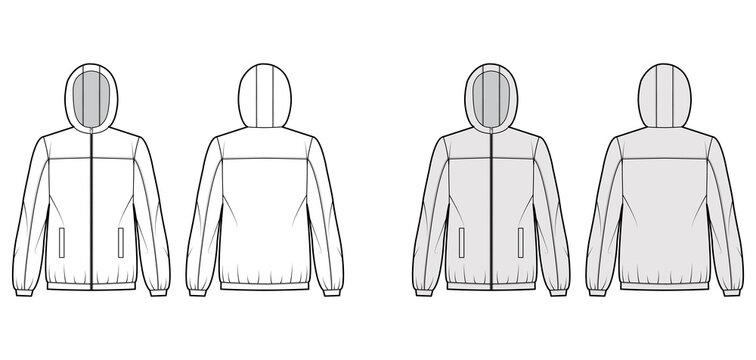 Windbreaker jacket technical fashion illustration with hood, oversized, long sleeves, welt pockets, zip-up opening. Flat coat template front, back white, grey color style. Women, men top CAD mockup