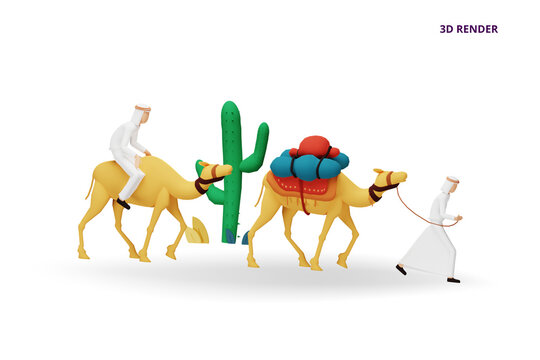 3D render ramadan mubarak greeting concept with people character for web landing page template, banner, presentation, social, and print media. islamic eid fitr or adha flat design vector illustration