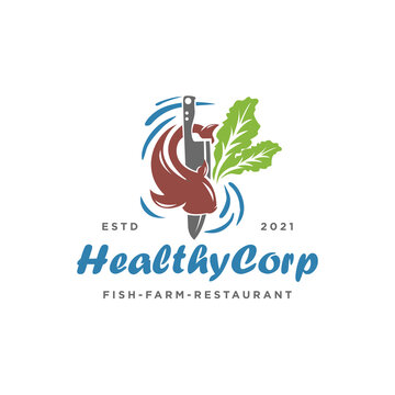 Healthy Corp Logo Design Inspiration - Isolated vector Illustration on white background - Creative and fresh logo, icon, symbol, sticker combination featuring mustard greens, knife, water, and fish