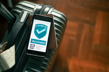 Covid-19 vaccine passport app concept. Vaccinated people bring along the phone with vaccine...