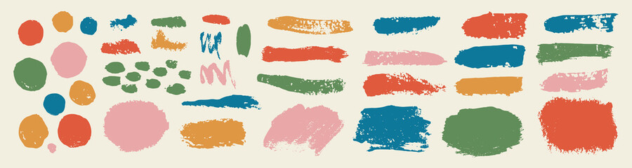 set of grunge paint, ink brush strokes. brush collection isolated on white background. Trendy brush stroke for black ink paint,grunge backdrop, dirt banner,watercolor design and dirty texture.