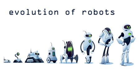 Wall Murals Graffiti Robots evolution, AI android transformer bots, vector robo cybernetics technology. Robots and cyborgs, futuristic artificial intelligence and smart computer engineering progress, robotic machines