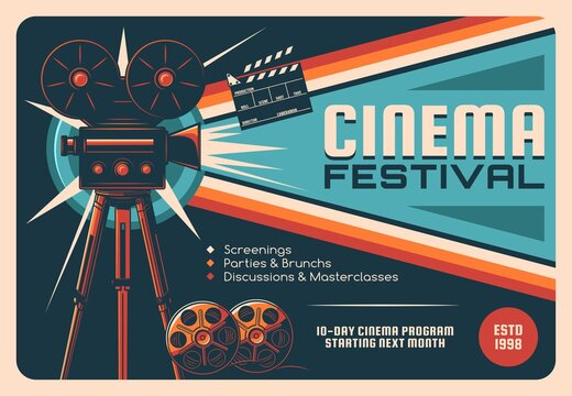 Cinema festival, cinematography industry retro poster. Old movie camera on tripod, movie theater projector and film reel, clapperboard vector. Cinema fest invitation card, event program vintage banner