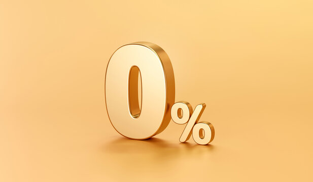 Zero percentage gold sign and sale discount on golden background with special offer rate. 3D rendering.