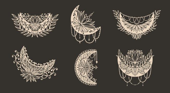 Moon crescent flower mandala.Astrology boho witch symbol amulet.Sacred mystic decoration trendy style