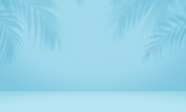 Empty palm shadow blue color texture pattern cement wall background.