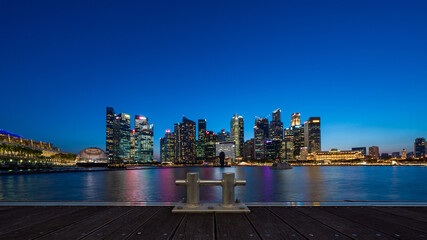 City scape of Singapore central area at magic hour.