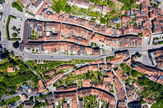 Top down view of Fribourg old town with various landmark such as the town hall and the funicular in Switzerland