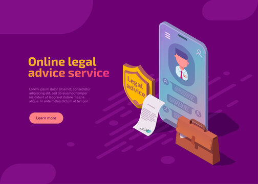 Online legal advice service isometric landing page