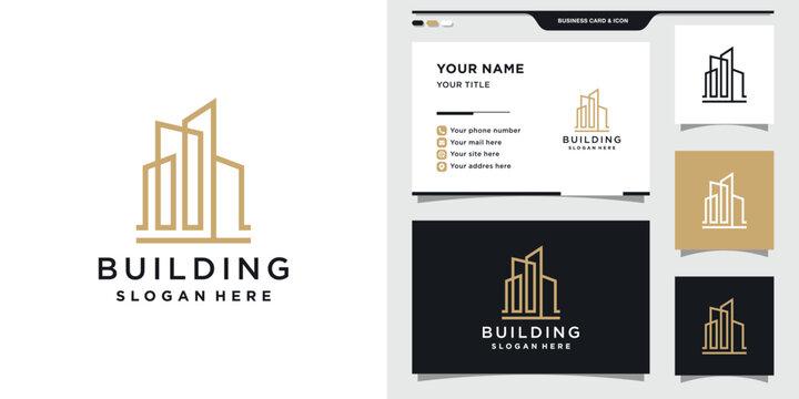 Building logo design with business card template. Logo design inspiration, illustration Premium Vector