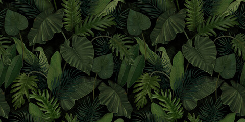 Fototapeta Seamless pattern with tropical green palm, colocasia, banana leaves. Hand drawing botanical vintage background. Suitable for making wallpaper, printing on fabric, wrapping paper, fabric obraz