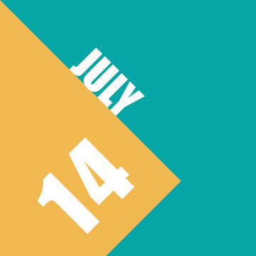 july 14th. Day 14 of month,illustration of date inscription on orange and blue background summer month, day of the year concept