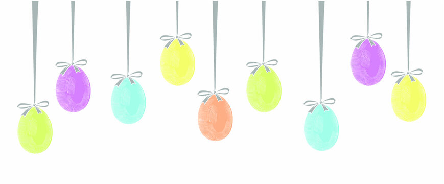 Easter garland with hanging Easter eggs. Vintage stylized drawing. Vector illustration